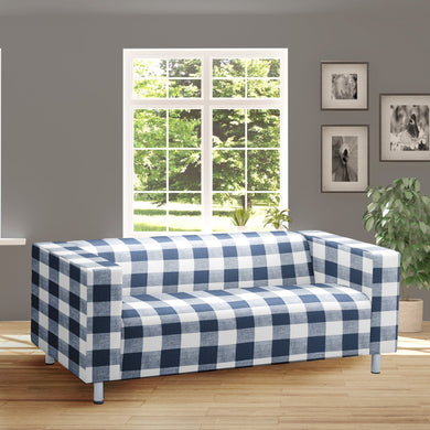 Navy Blue Gingham IKEA KLIPPAN Loveseat Slip Cover