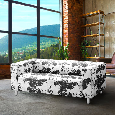 Black Cow Print IKEA KLIPPAN Loveseat Slip Cover