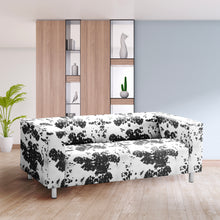 Load image into Gallery viewer, Black Cow Print IKEA KLIPPAN Loveseat Slip Cover