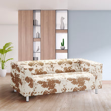 Load image into Gallery viewer, Light Brown Cow Print IKEA KLIPPAN Loveseat Slip Cover