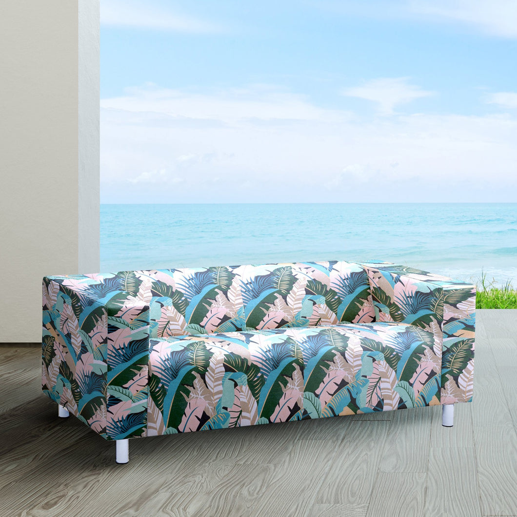 Tropical Banana Leaf, Pink Teal, IKEA KLIPPAN Loveseat Slip Cover
