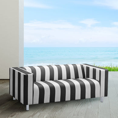 Black Cabana Stripe IKEA KLIPPAN Loveseat Slip Cover