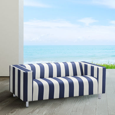 Navy Blue Cabana Stripe IKEA KLIPPAN Loveseat Slip Cover