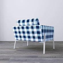 Load image into Gallery viewer, IKEA KOARP Armchair Cover, Farmhouse Buffalo Check Navy Blue