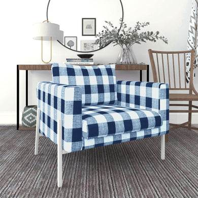 IKEA KOARP Armchair Cover, Farmhouse Buffalo Check Navy Blue