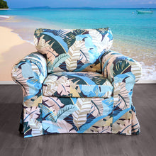 Load image into Gallery viewer, IKEA EKTORP Sofa Slip Cover, Pink Teal Jungle Banana Leaf