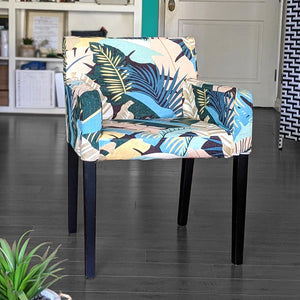 IKEA NILS Beach Banana Leaf Print, Teal Blue, Pink