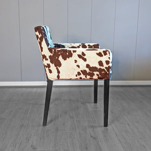Dark Brown Faux Cow Print, IKEA NILS Chair Cover