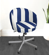 Load image into Gallery viewer, IKEA SKRUVSTA Chair Slip Cover, Navy Blue Cabana Stripe