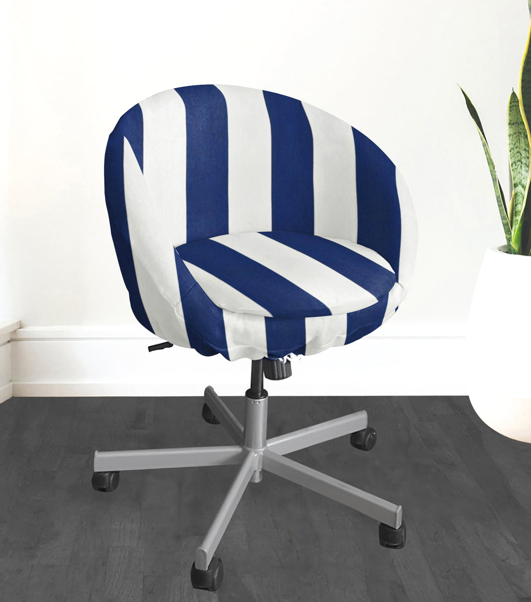IKEA SKRUVSTA Chair Slip Cover, Navy Blue Cabana Stripe