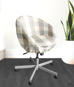 Beige Buffalo Check Plaid IKEA SKRUVSTA Chair Slip Cover