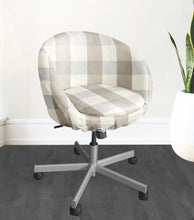 Load image into Gallery viewer, Beige Buffalo Check Plaid IKEA SKRUVSTA Chair Slip Cover