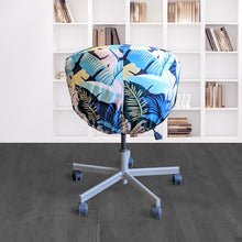 Load image into Gallery viewer, IKEA SKRUVSTA Chair Slip Cover, Jungle Teal Pink Tropical Banana Leaf