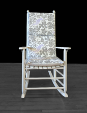 Load image into Gallery viewer, Grey Pattern, Lilac Floral Bird Rocking Chair Cushion