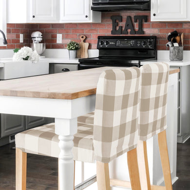 IKEA Henriksdal Bar Stool Chair Cover, Large Beige Plaid Buffalo Check
