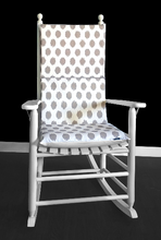 Load image into Gallery viewer, Ikat Polka Dot Rocking Chair Pad, Jo Jo Ecru Beige