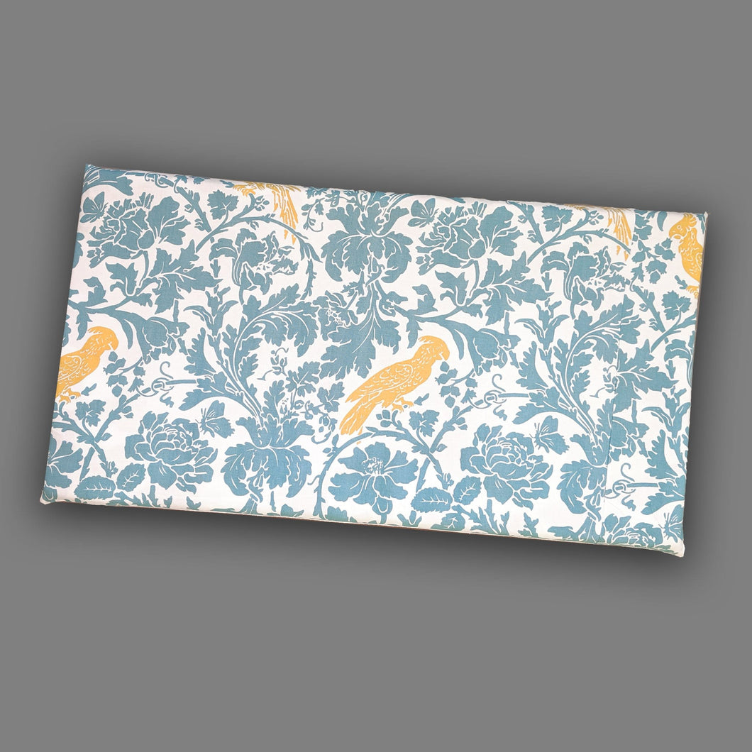 Yellow Cockatoo Bird Print IKEA STUVA Bench Pad Slip Cover, Blue Floral