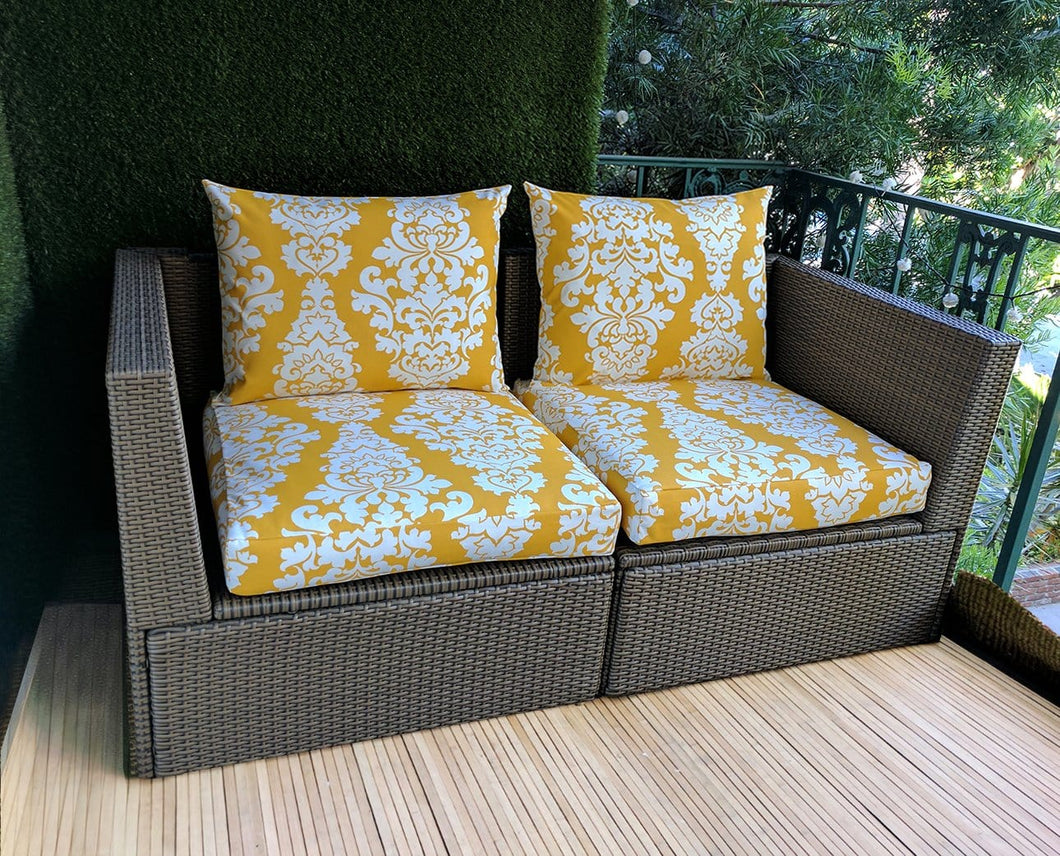 SALE IKEA Outdoor Slipcovers, Golden Yellow Floral Damask