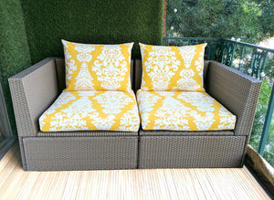 SALE IKEA OUTDOOR Slip Cover, Yellow Floral Cushion Covers, Ikea Decor, Bespoke Covers, Damask Print