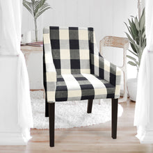 Load image into Gallery viewer, IKEA SAKARIAS Dining Chair Cover, Buffalo Check Plaid Black