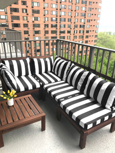 Black and White Cabana Stripe IKEA Outdoor Slipcover