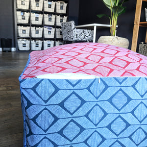 Geometric Blue Red Ottoman, Floor Pouf Slip Cover