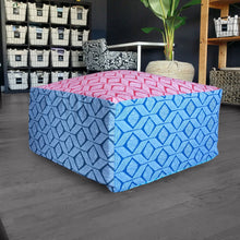 Load image into Gallery viewer, Geometric Blue Red Ottoman, Floor Pouf Slip Cover