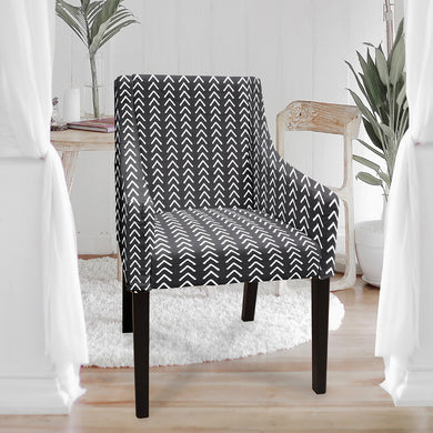 Sakarias chair cover, black arrow print