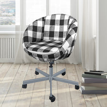 Load image into Gallery viewer, Black Buffalo Check Plaid IKEA SKRUVSTA Chair Slip Cover