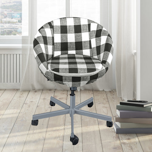 Black Buffalo Check Plaid IKEA SKRUVSTA Chair Slip Cover