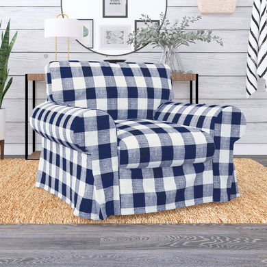 IKEA EKTORP Sofa Slip Cover, Buffalo Check Plaid Navy