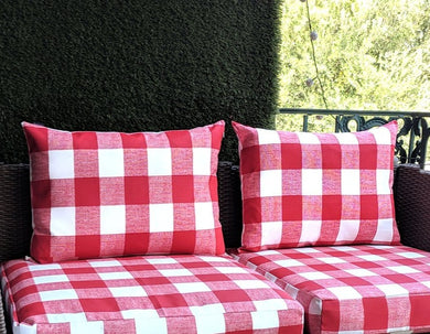 SALE IKEA Outdoor Slipcovers, Red White Plaid Buffalo Check