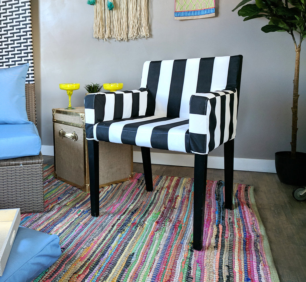 Indoor / Outdoor IKEA NILS Chair Cover - Cabana Black White Stripe