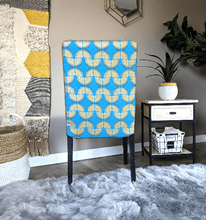 Load image into Gallery viewer, SALE Peacock Blue, Metallic Gold Tribal Henriksdal Seat Cover