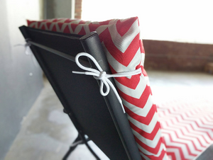 IKEA OUTDOOR Slip Cover, Hallo Chaise Pad Cover, Zig Zag Chevron Coral