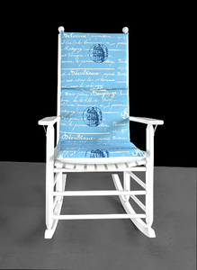 Blue Calligraphy, Writing Rocking Chair Cushion