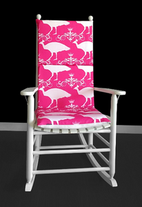 Candy Pink Peacock Rocking Chair Cover