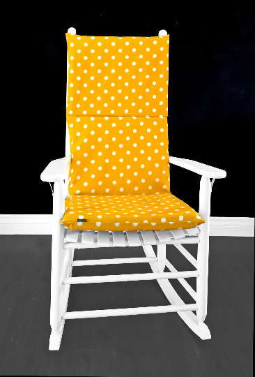 Gold Yellow Polka Dots Rocking Chair Cover, Kids Nursery Room Covers And Inserts