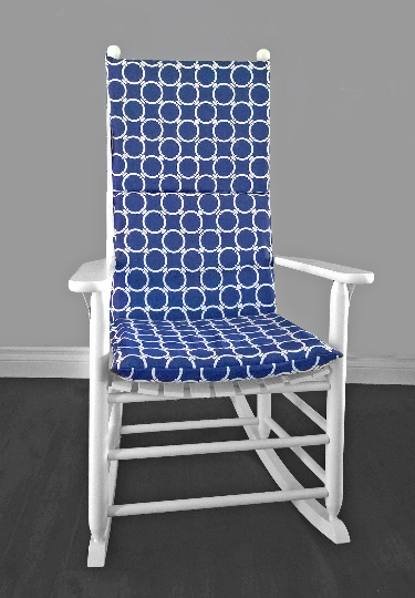 Navy Blue Circles Rocking Chair Cushions And Pad