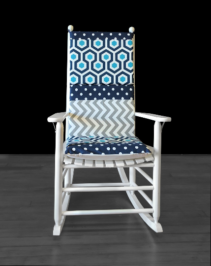 Navy Turquoise Geometric Patchwork Rocking Chair Cover