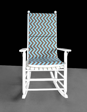 Pastel Blue Brown Chevron Rocking Chair Cover