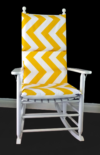 Big Yellow Chevron Rocking Chair Covers, Zig Zag Seat Covers
