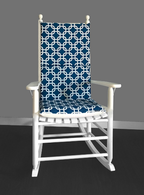 Navy White Squares Rocking Chair Cushion Cover