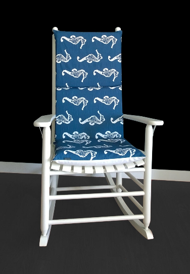 Navy Seahorse Rocking Chair Covers