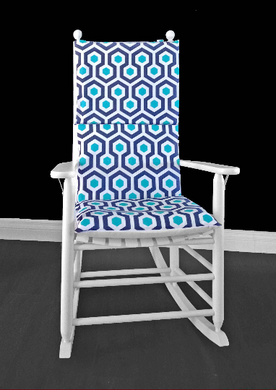 Blue Hexagon Geometric Rocking Chair Cushion Cover