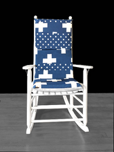 Load image into Gallery viewer, Navy Blue Swiss Cross Rocking Chair Cover, Cross Polka Dot Seat Covers