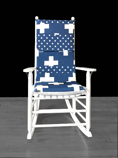 Navy Blue Swiss Cross Rocking Chair Cover, Cross Polka Dot Seat Covers