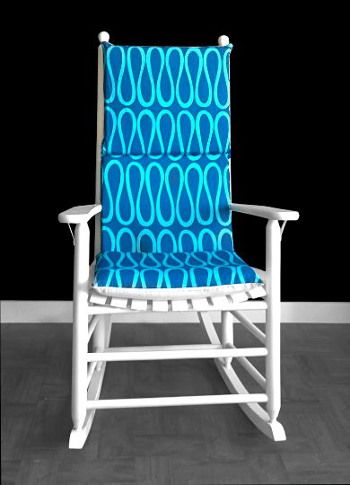 Two Tone Blue Rocking Chair Cover