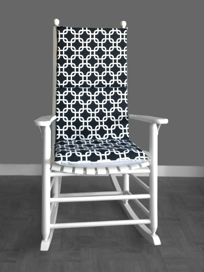 Black White Squares Rocking Chair Cushion Covers