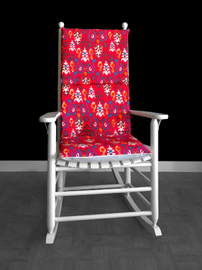 Machine Washable Red Flower Pattern Rocking Chair Cover